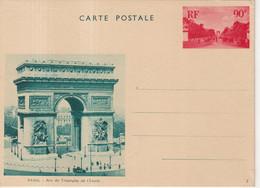 """FRANCE : ENTIER POSTAL . 90 Cts ROUGE . ESSAI VUE . NON ADOPTEE . """" ARC DE TRIOMPHE VERT SUR CHAMOIS """" . 1936 . - Cartoline Postali E Su Commissione Privata TSC (ante 1995)"""