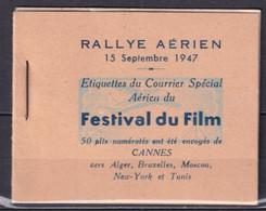 1947 - RARE CARNET COMPLET 10 VIGNETTES !! RALLYE AERIEN Du FESTIVAL Du FILM De CANNES ! - Aviation