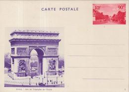 "FRANCE : ENTIER POSTAL . 90 Cts ROUGE . ESSAI VUE . NON ADOPTEE . "" ARC DE TRIOMPHE EN BLEU VIOLET "" . 1936 . - Cartoline Postali E Su Commissione Privata TSC (ante 1995)"