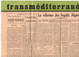 TRANSMEDITERRANÉE 1943 Bulletin Du Gouvernement Generale  Alger - Constantine - Musique Musulmane - Impôts Algériens - 1900 - 1949