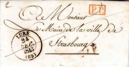 Lac 24 Décembre 1843 De Lure Hte Saône Vers Le Maire De Strasbourg Port Payé En Rouge 2 De Port Ubique Nos Tuere - 1801-1848: Précurseurs XIX