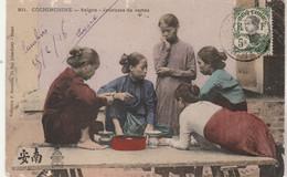 Cochinchine Cachet QUINHONE Annam 25/2/1916 Sur Carte Postale Saïgon Joueuses De Carte Pour Bordeaux Gironde - Cartas