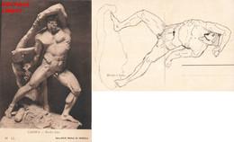 Art Sculpture Statue Canova Ercoli E Lica Hercule Et Lycas + Dessin Au Verso , Cpa Statue Homme Nu - Sculptures