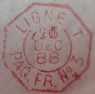 A446 - POSTE MARITIME - 1888 - ✉️ NOUMEA (NOUVELLE CALEDONIE) à MASSEUBE (Gers)  ➤➤➤ Voir Info Ci-dessous - Schiffspost