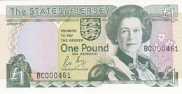 000461 BILLETE DE JERSEY DE 1 POUND DEL AÑO 1989 SIN CIRCULAR (NUMERO MUY BAJO) (UNCIRCULATED) (BANKNOTE) - Jersey