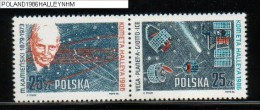 POLAND 1986 APPEARANCE OF HALLEY'S COMET JOINED PAIR NHM Space Probes Vega Planet A Giotto Ice Cosmos Satellite Kamenski - Ongebruikt