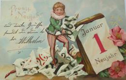 Neujahr, Kinder, Harlekin, Kalender, Blumen, 1904, Prägekarte  ♥ (20412) - Neujahr