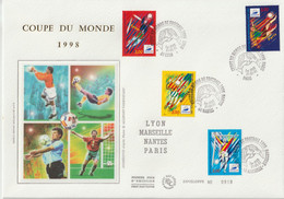 France FDC Grand Format 1997 Coupe Du Monde Football 3074-77 - 1990-1999