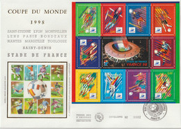 France FDC Grand Format 1998 Coupe Du Monde Football BF 19 - 1990-1999