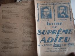 SACCO VANZETTI LETTRE SUPREME ADIEU MARCEL ROUSSEAUX  AIR CHANSON DANS LA NUIT - Partitions Musicales Anciennes