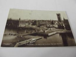 Cpa Ostende La Gare Et La Place Van Der Zweep - Oostende