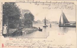 7093) LEER - Die LEDA - Ansicht Mit SEGELBOOT WINDMÜHLE - Frauen Kinder Usw. ALT !  23.07.1902 - Leer