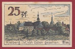 Allemagne 1 Notgeld  De 25 Pf Stadt  Rietberg  (RARE) Dans L 'état   Lot N °275 - Colecciones