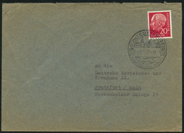 BUND 1957, Nr. 185, HEUSS, BRIEF, SST BUXTEHUDE HEIMATSTADT VON HAS U. SWINEGEL - Covers & Documents
