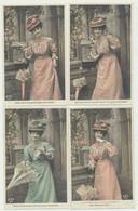 Lot  27 Cartes Fantaisie-3 Séries De 4 Cartes Et 5 De 3 Cartes- Homme Femme Enfant Sur Le Thème De La Boîte Aux Lettres - 5 - 99 Postkaarten