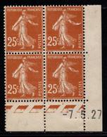 FRANCE N°235* TYPE SEMEUSE COIN DATE DU 7/5/27 - ....-1929