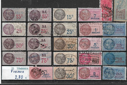 25 TIMBRES FISCAUX DIFFERENTS - Fiscali