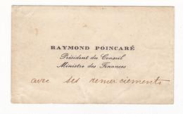 Carte De Visite Raymond Poincaré Président De La République Française Bar-le-Duc Meuse Avocat - Visitekaartjes