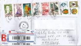 Lettre Recommandée Andorre,adressée A Montevideo,Uruguay, Return To Sender, Timbres Europa CEPT Andorra - Storia Postale