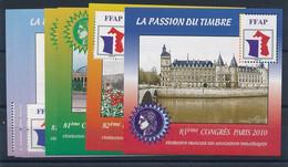 EC-487:FRANCE: Lot Avecfeuillet FFAP** N°1(3)-2(2)-3-4 - FFAP