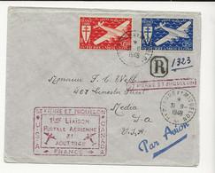 D70 FRANCE ST PIERRE ET MIQUELIN FIRST FLIGHT TO USA Aug 1948 - Autres