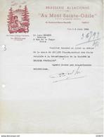 """Lettre à En-tête Illustré Brasserie Alsacienne """"Au Mont Saint Odile"""" 26 Bd Bonne Nouvelle Paris (Xè) 1954 - Invoices"""