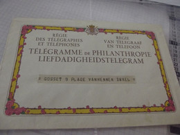Royaume De Belgique Enveloppe Télégramme Philanthropie - Telegraph