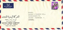 Yemen Air Mail Cover Sent To Denmark Single Franked - Yemen
