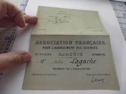 Association Française Pour L'avancement Des Sciences Ajaccio 1901 - Historische Documenten
