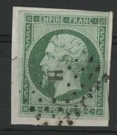 N° 12  5 Ct Vert Cote 95 € Obl. Bureau H De PARIS (lettre Bâton) Sur Fragment. TB - 1853-1860 Napoleon III