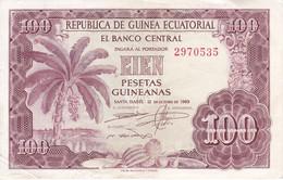 BILLETE DE GUINEA ECUATORIAL DE 100 PESETAS DEL AÑO 1969   (BANKNOTE) - Equatorial Guinea