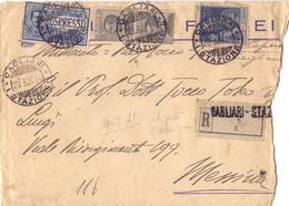 1927 Raccomandata Espresso In Tariffa Da Cagliari Per Messina Con Giubileo Del RE Da 1.25 Dent.11 >600€ Cat. - Storia Postale