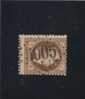 N° 30 Brun Foncé  -  GC ALGER - Bureau D'ALGERIE   -REF 5609 + PIQUAGE - 1863-1870 Napoleon III With Laurels