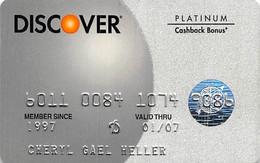 Discover Platinum Cashback Bonus Credit Card Exp 01/07 - Credit Cards (Exp. Date Min. 10 Years)
