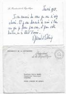 Lettre De La Présidence 1978 Carte De Visite écrite Et Signée V.GISCARD D'ESTAING - Autógrafos