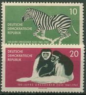 DDR 1961 Dresdner Zoo Zebra Affen 825/26 Postfrisch - Neufs