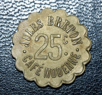 """Jeton De Nécessité """"25c / 25c Café Moderne Julles Breton"""" à Localiser - Noodgeld"""