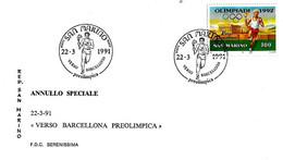 SAN MARINO - 1991 Verso Barcellona (tedoforo, Fiaccola Olimpica) Su Busta Speciale Serenissima - 930 - Verano 1992: Barcelona