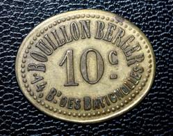 """Jeton De Nécessité """"10c / 10c Bouillon Berger - 14, Bd Des Batignolles"""" Paris - Inédit Elie - Noodgeld"""