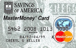 Savings Of America MasterMoney Card - MasterCard Credit Card Exp 04/99 - Credit Cards (Exp. Date Min. 10 Years)