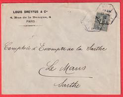 N°130 PERFORE LD LOUIS DREYFUS LEVEE EXCEPTIONNELLE PARIS DEPART 1912 POUR LE MANS SARTHE - 1877-1920: Periodo Semi Moderno