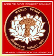 """SUPER PIN'S ALIMENTATION-ASSOCIATION """"PAIX"""" DANS Le MONDE : LA NATURE En DORDOGNE AOUT 1991 """"CHAMPIGNONS"""" Diamètre 2,5c - Alimentazione"""