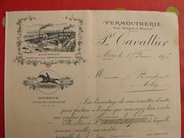 Facture Illustrée P. Cavallier. Vermoutherie. Vins Rouges & Blancs. Cheval. Mèze 1896 - Food