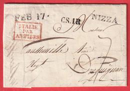 MARQUE NICE NIZZA  ENTREE ITALIE ANTIBES EN ROUGE ALPES MARITIMES POUR DRAGUIGNAN VAR - 1792-1815: Veroverde Departementen