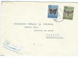 Yugoslavia R - Letter 1964 Skopje.stamps 1964 Butterflies / Papillons - Lettres & Documents