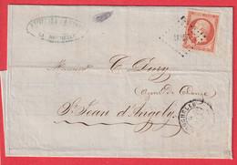 N°16 PC 2706 LA ROCHELLE CHARENTE INFERIEURE POUR ST JEAN D'ANGELY - 1849-1876: Klassieke Periode