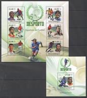 BC1359 2010 MOZAMBIQUE MOCAMBIQUE SPORT DESPORTO FOOTBALL LEGENDS 1SH+1BL MNH - Otros