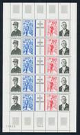 Feuille Complète 5 Bandes De 4 Timbres Et 1 Vignette Hommage Au Général De Gaulle Croix De Lorraine N° 1698 A Chez Y&T - Fogli Completi