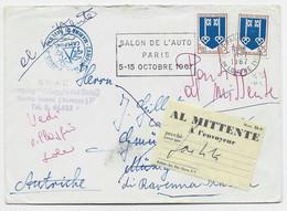 BLASON 25C MONT DE MARSAN X2 LETTRE PARIS 1967 POUR AUTRICHE REEXP ITALIE + ETIQUETTE BILINGUE RETOUR ENVOYERUR - 1941-66 Coat Of Arms And Heraldry