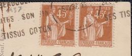 """Type PAIX 45c Bistre  """" La PAIRE """" Sur CPA De 69 VILLEFRANCHE En BEAUJOLAIS  Pour LAUSANNE Suisse Année 1937 - 1932-39 Peace"""